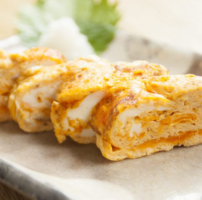 Tamagoyaki (pan fried rolled eggs)