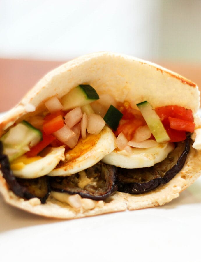 Sabich- Middle Eastern Vegetarian Sandwich