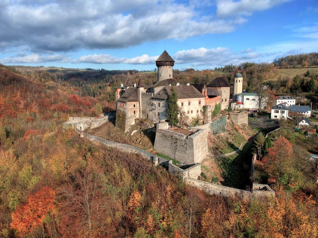 sovinec, autumn, aerial