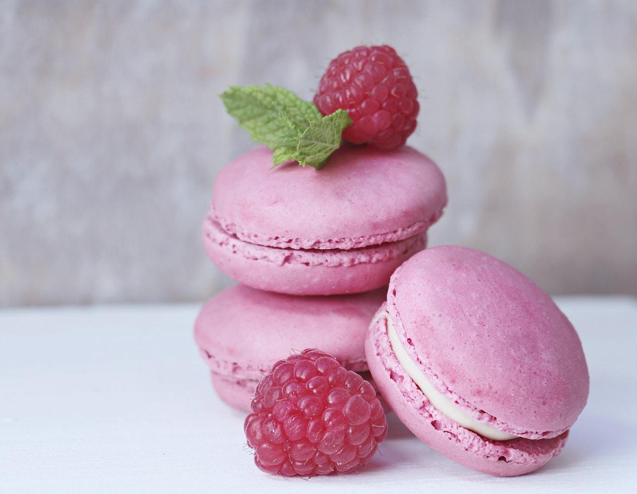 macarons, raspberries, mint